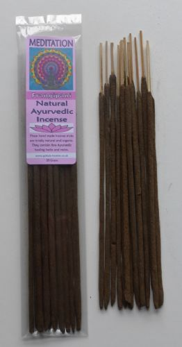 Meditation - Natural Ayurvedic Healing Incense Sticks - Frangipani - 20 grams